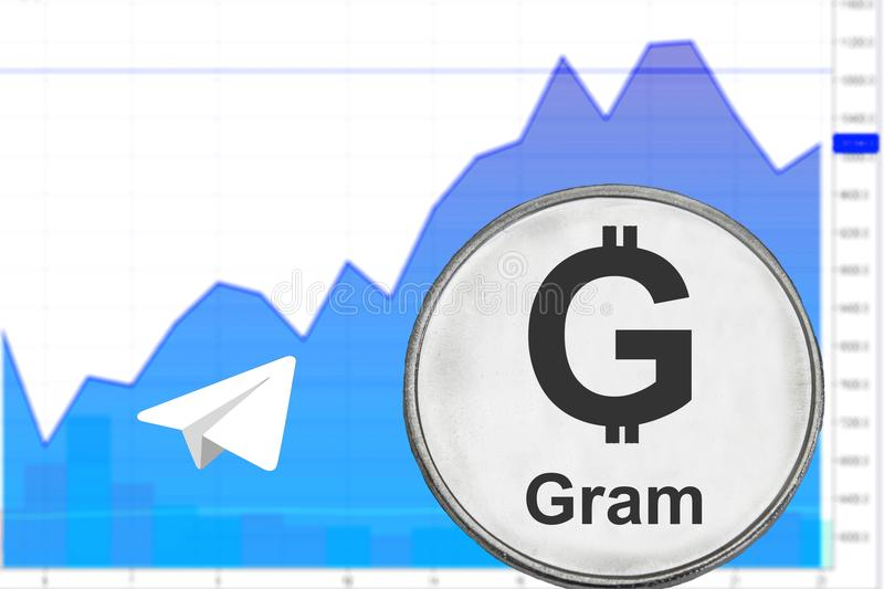 Silver coin gram. From telegram on the background a financial chart. Cryptocurrency ton royalty free stock photos