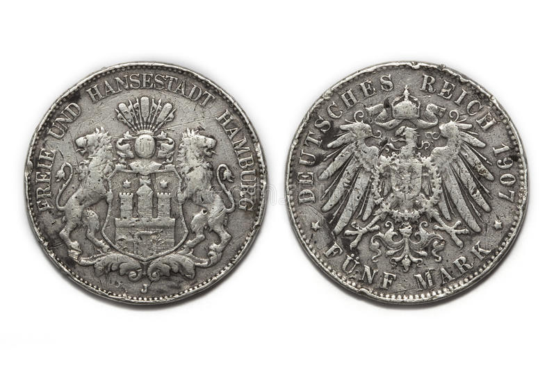 Silver coin 5 Mark 1907. Old German silver coin 5 Mark 1907 isolated stock photography