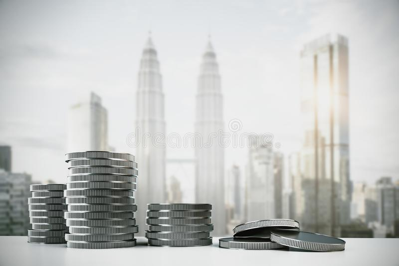 Silver coin stacks. Creative silver coin stacks on blurry Kuala Lumpur city background. Money and income concept. 3D Rendering stock illustration