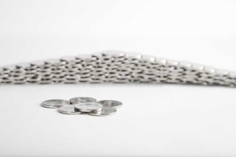 Silver coins, economy and finance concept stock photos