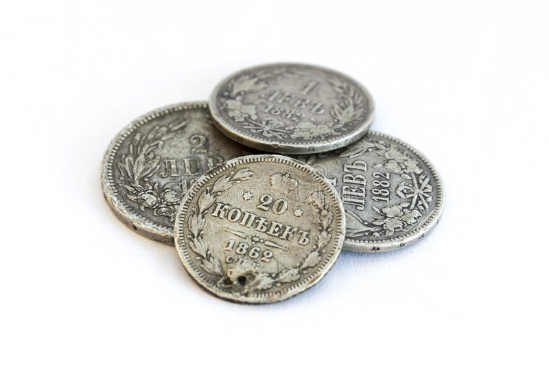 Silver coins. Old expired money royalty free stock photography