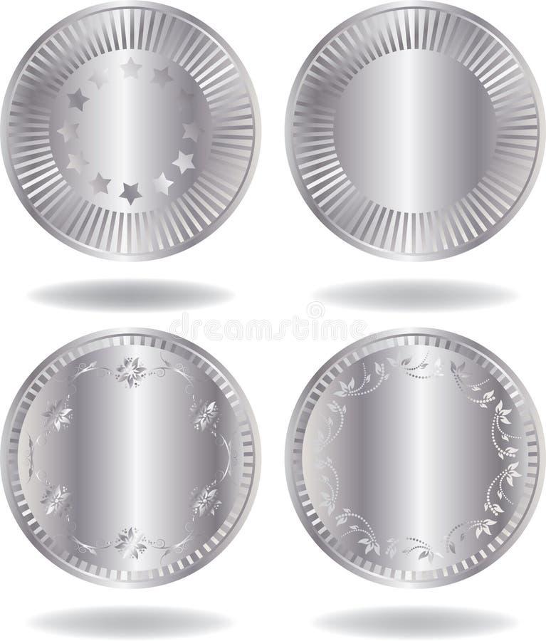 Silver coins set stock photo