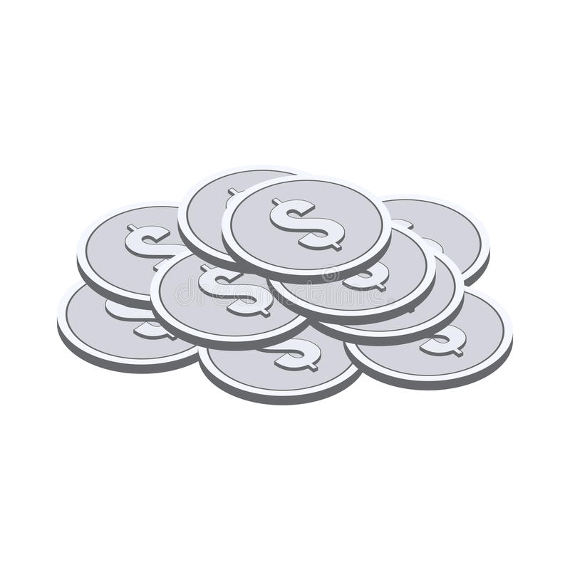 Silver coins symbol. Flat Isometric Icon or Logo. stock illustration