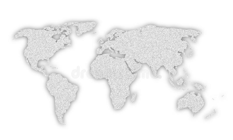 Silver color world map illustration. Silver color textured world map illustration background with shadow. Isolated on white stock illustration