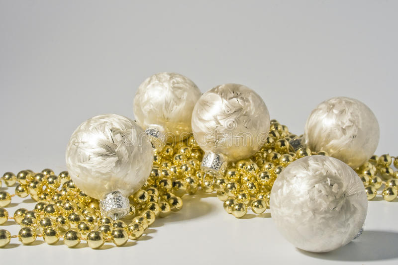Silver colored christmas ornaments stock photo