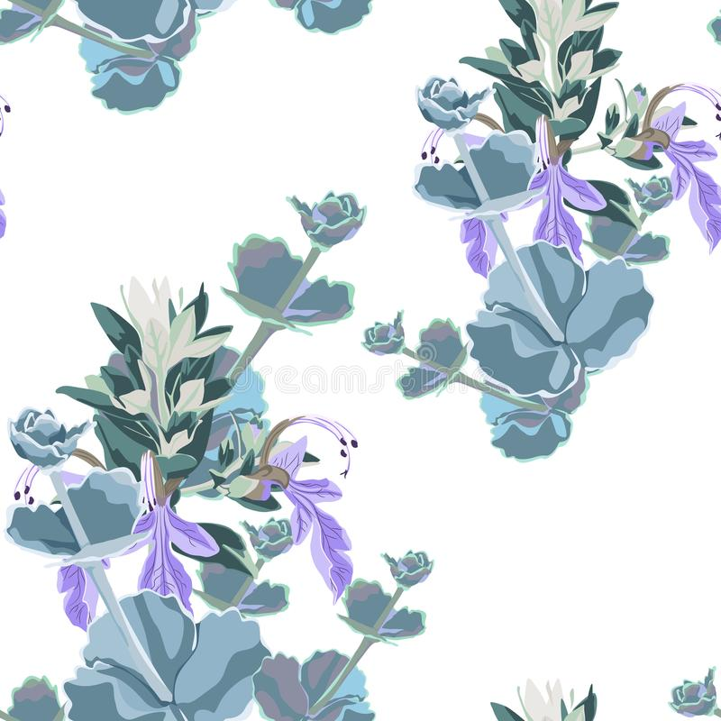 Silver colorful succulent Echeveria seamless vector design print. Natural cactus print with violet herbs in modern funky style. stock illustration