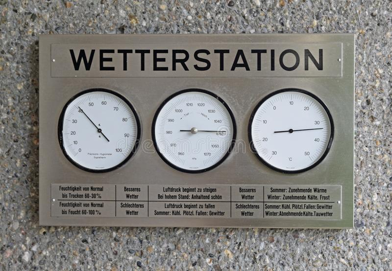Home weather station with reader for water vapor in the atmosphere, atmospheric pressure and temperature. This silver colour metal device is a convenient small stock image