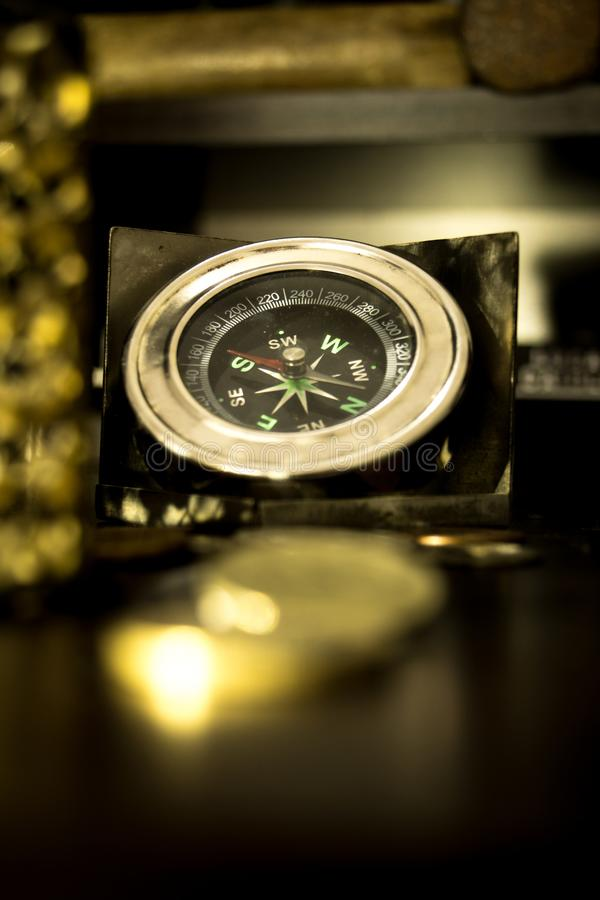 Silver compass. stock photography