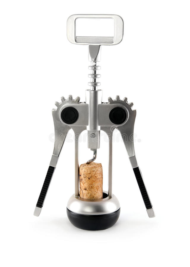 Free Silver Corkscrew With Cork From Wine Isolated Stock Photo - 19710690