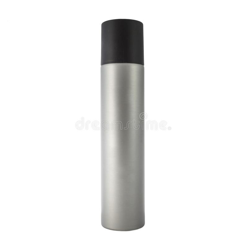 Silver cosmetic spray bottle. Pack of hairsprayl. Ready for your package design. isolated on white background royalty free stock images