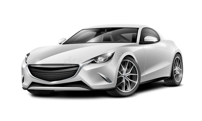 Silver Coupe Sporty Car. Generic automobile with glossy surface on white background. royalty free illustration