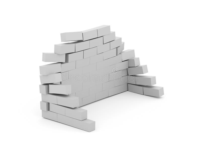 Silver crash brick wall isolated on white. Background royalty free illustration