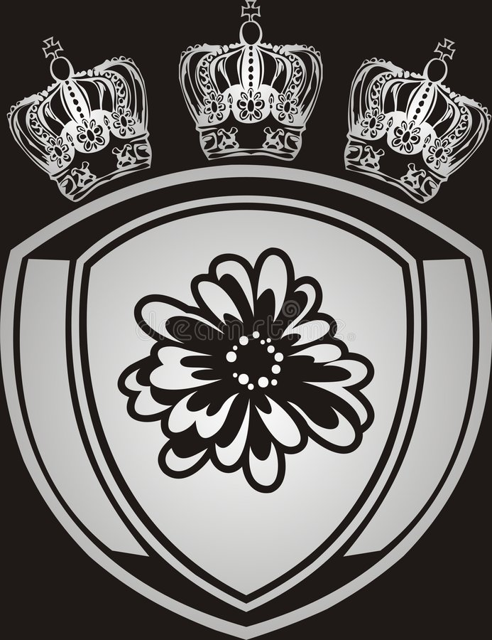 Silver Crowns And Emblem Royalty Free Stock Photography