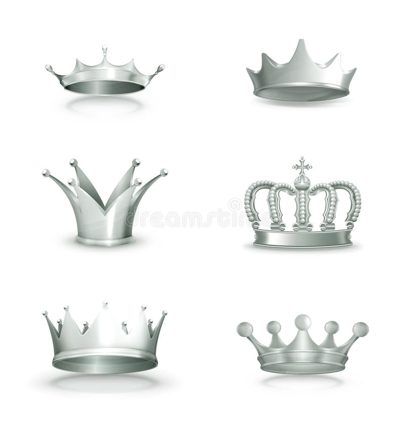 Silver Crowns, Set Stock Photos