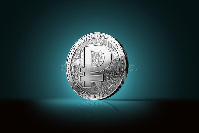 Silver crypto ruble cryptocurrency single coin on blue background. Concept coin. 3D rendering royalty free illustration