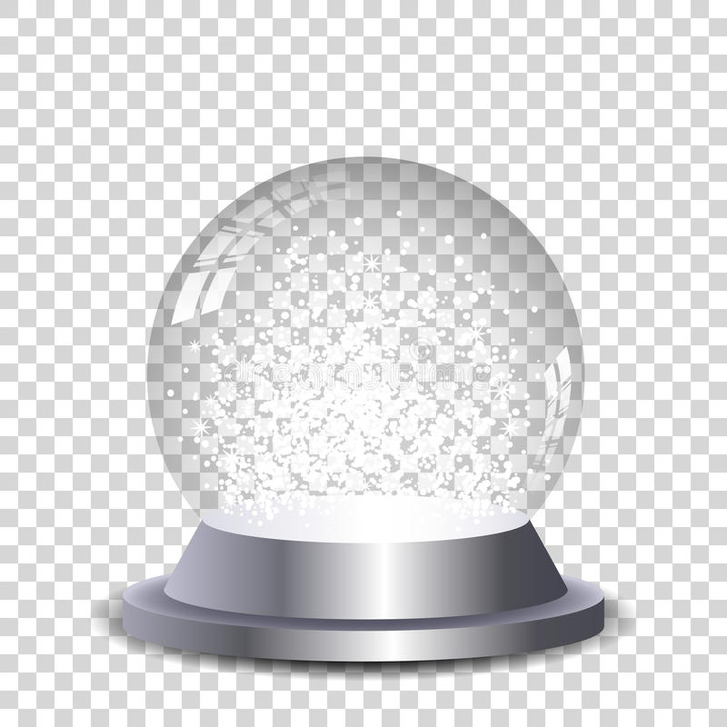 Silver crystal snow globe transparent and isolated. stock photo