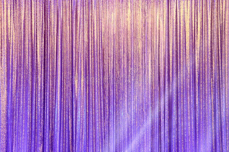 Silver Curtain Screen drape wave and lighting beam. Around to create colorful change reflection on background stock image
