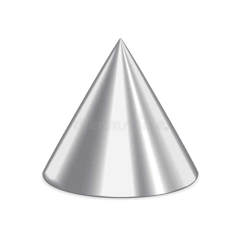 Silver 3d cone. Isolated on a white background stock illustration