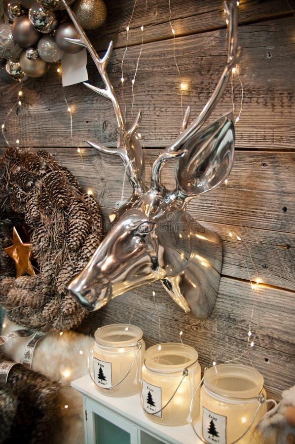 Silver deer home decor stock photography