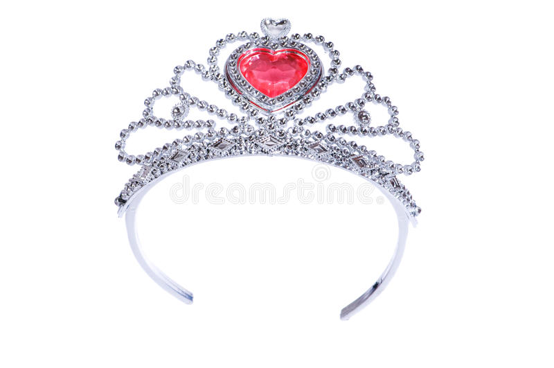 Silver diadem isolated on the white stock photo