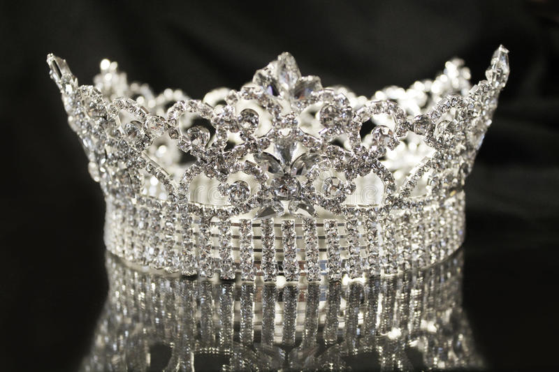 Silver diamond crown royalty free stock image