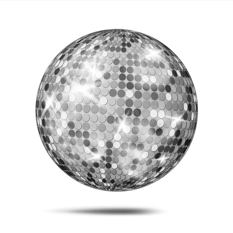 Silver Disco Ball Vector. Dance Night Club Party Light Element. Silver stock illustration