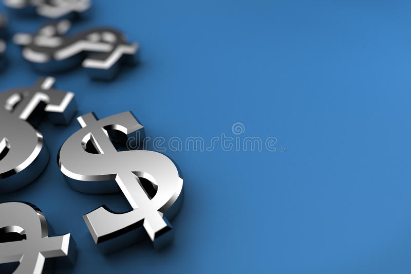 Silver Dollar. Dollar concept with silver dollar symbols over blue background