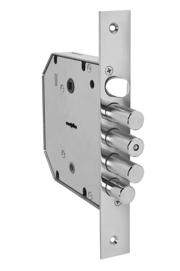 Silver door latch lock stock image
