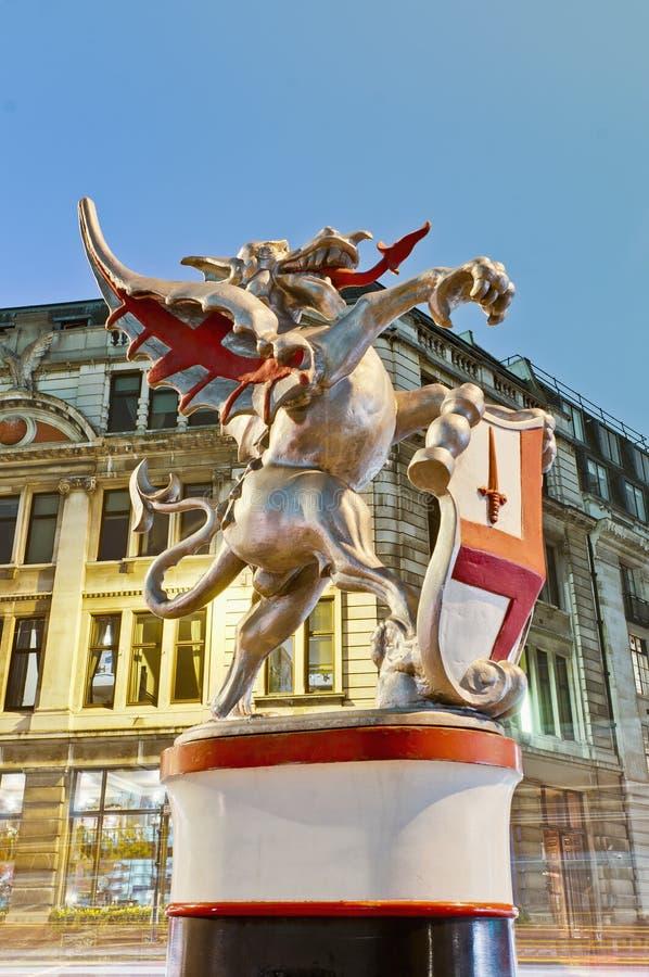 Silver dragon at London, England royalty free stock image