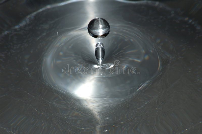 Silver drop. Double drop stock photo