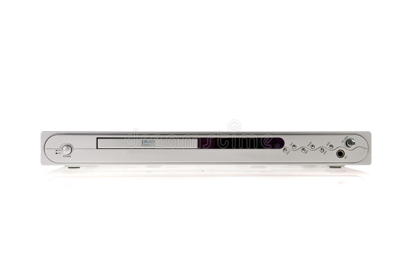 Silver DVD player stock photography