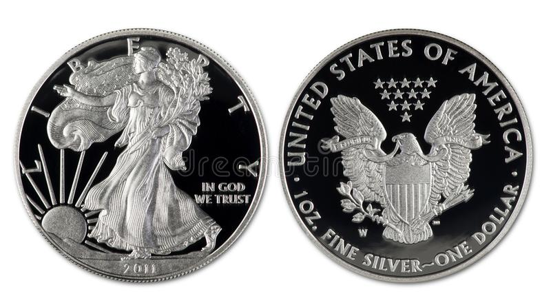 Silver Eagle Dollar royaltyfria foton