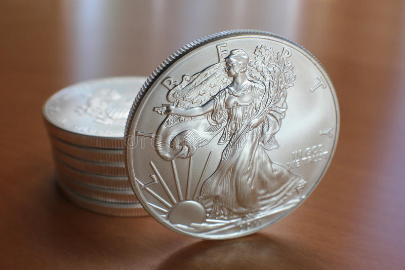 Silver Eagle With Stack Stock Images