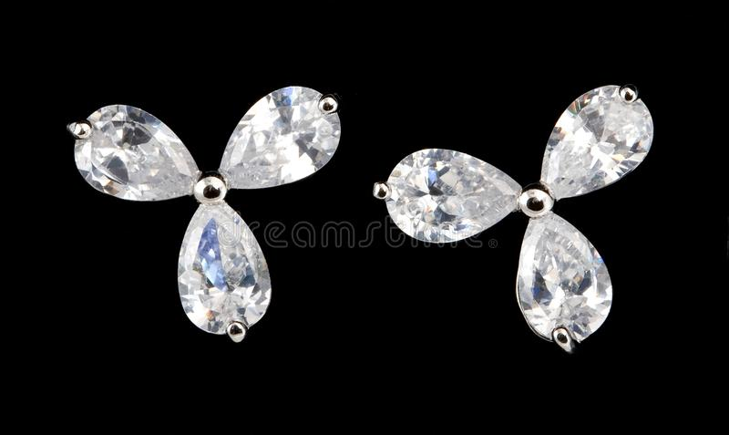 Download Silver Earrings With Diamonds Stock Image - Image of glass, girl: 13849187