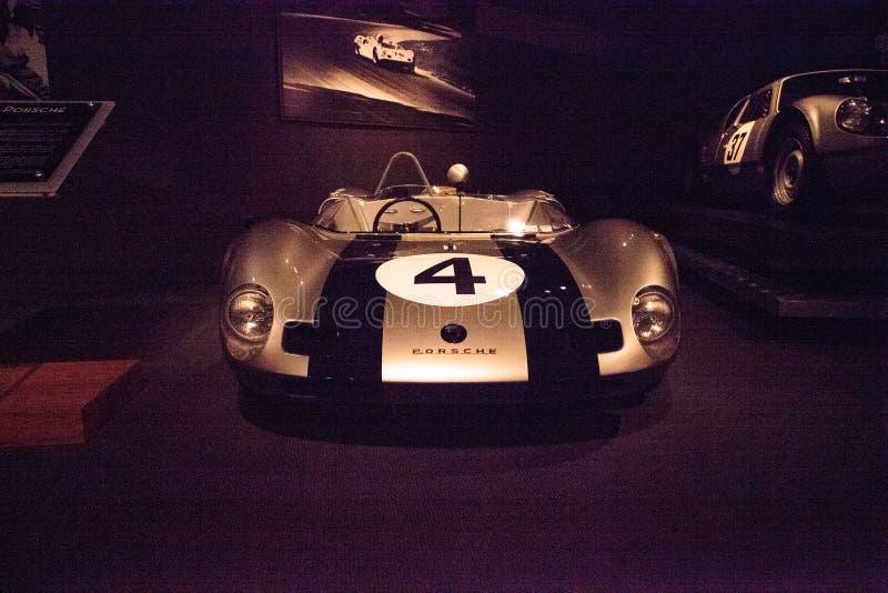 Silver 1963 Elva Porsche Mark VII. Naples, Florida, USA – May 5, 2018: Silver 1963 Elva Porsche Mark VII displayed at The Revs Institute in Naples stock images