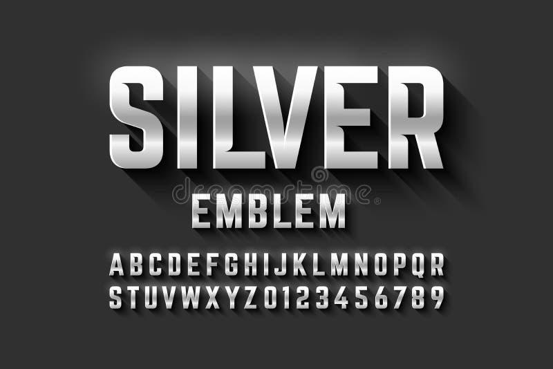 Silver emblem style font, metallic alphabet stock illustration