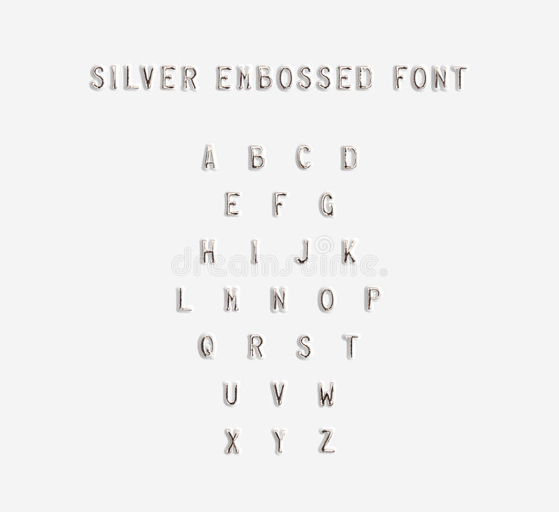Free Silver Embossed Alphabet Isolated, 3d Illustration. Royalty Free Stock Photography - 73639697