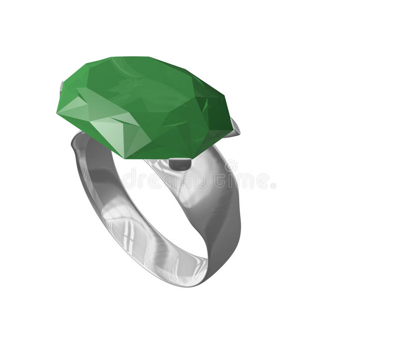 Silver Emerald Ring Stock Photography