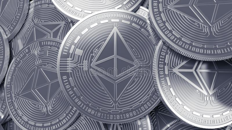 Silver Ethereum cryptocurrency mining concept background. Argent coins 3D back stage stock illustration