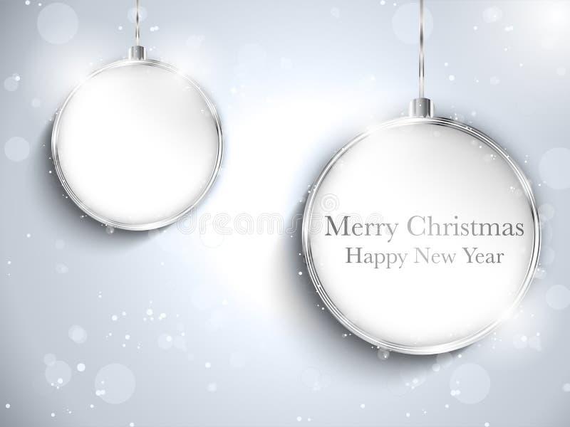 Silver för boll för lyckligt nytt år för glad jul med St stock illustrationer