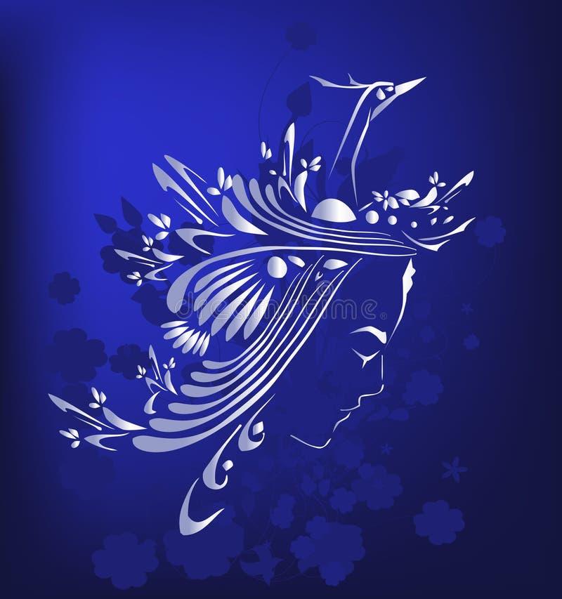 silver för fågelflickasilhouette vektor illustrationer