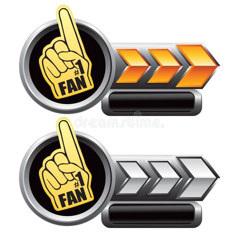 silver för ID-Märken för hand för guld för pilventilatorskum stock illustrationer
