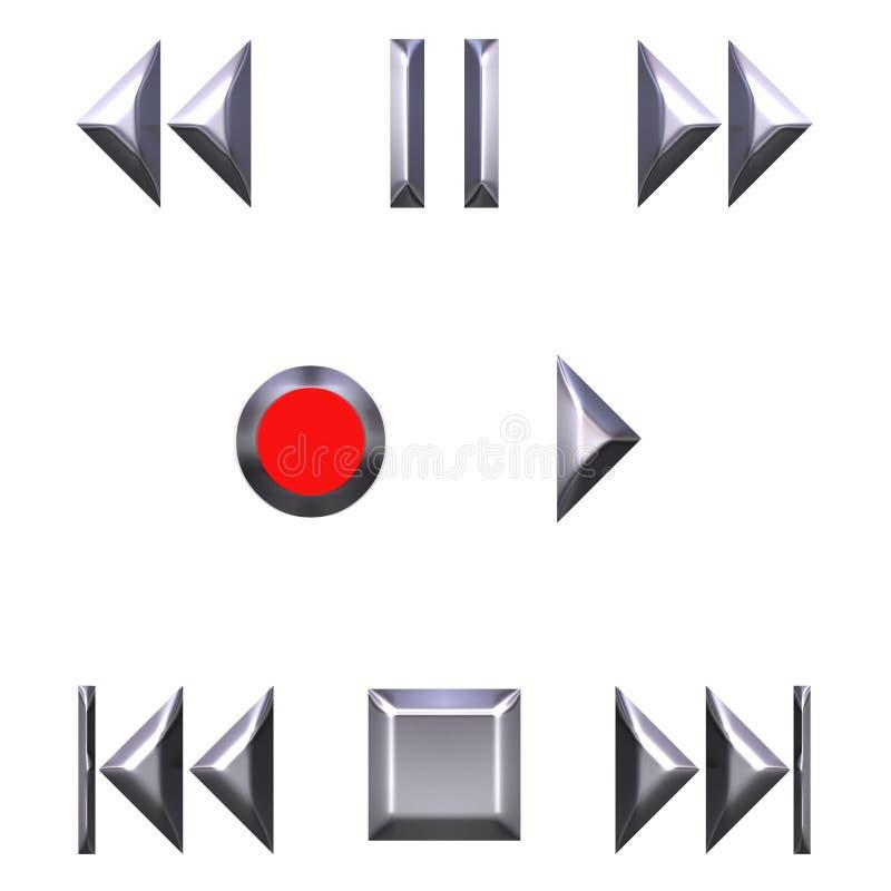 silver för knappar för ljudsignal 3d vektor illustrationer