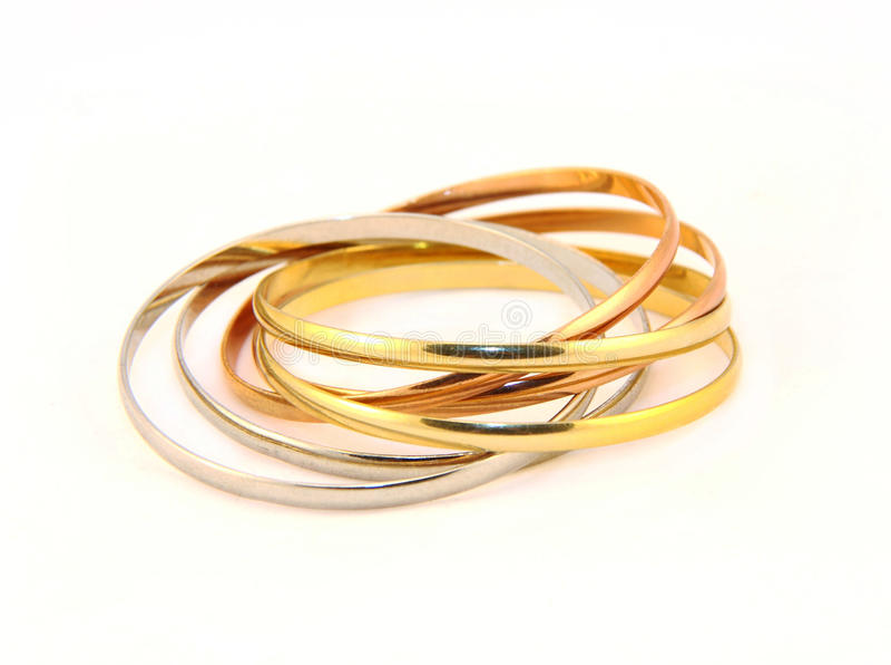 silver för metall för armbandfärgguld arkivfoton