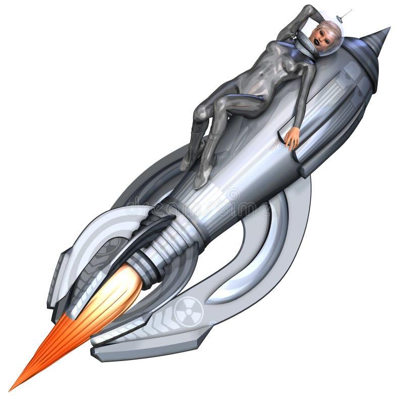 silver för raket för ridning för flickastift retro upp stock illustrationer