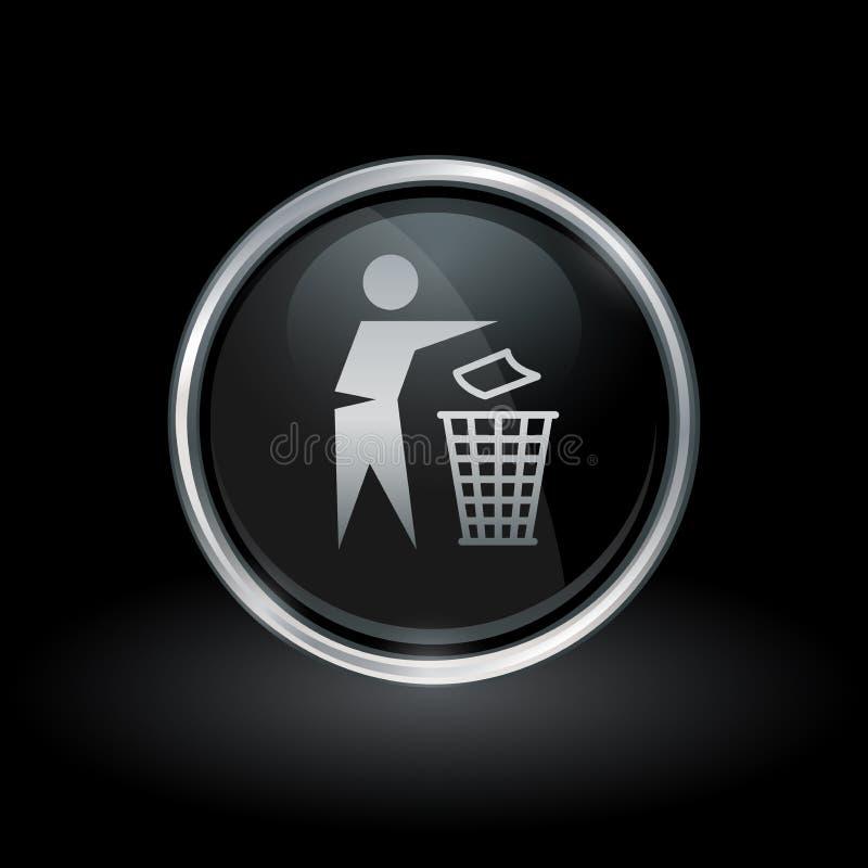 Silver för runda för insida för symbol för avfallförfogandefack och svartemblem vektor illustrationer