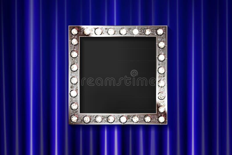 Silver för tappningståenderam på gardinväggen vektor illustrationer