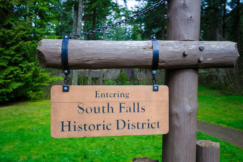 Silver Falls State Park. South Falls Historic District sign at Silver Falls State Park in Oregon royalty free stock image
