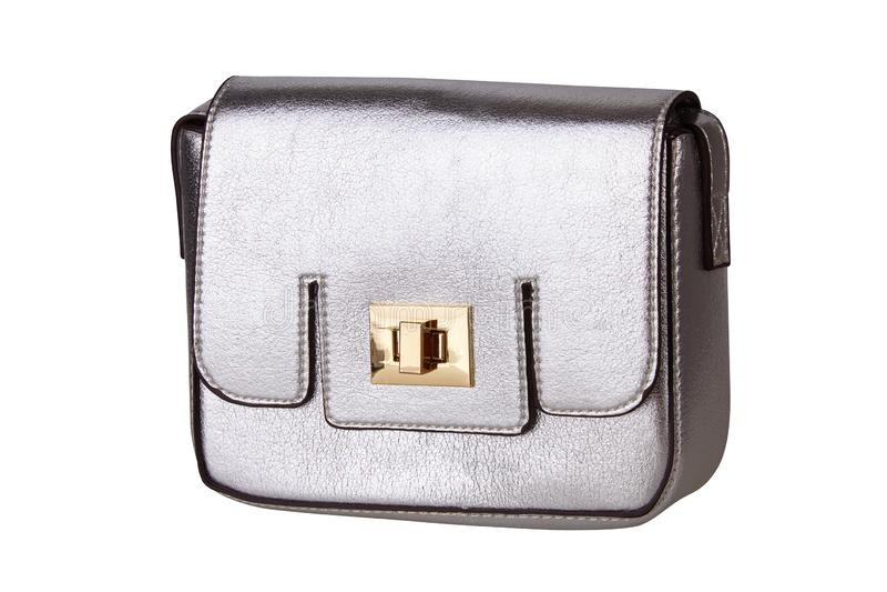 Silver female handbag isolated on white background royalty free stock photo