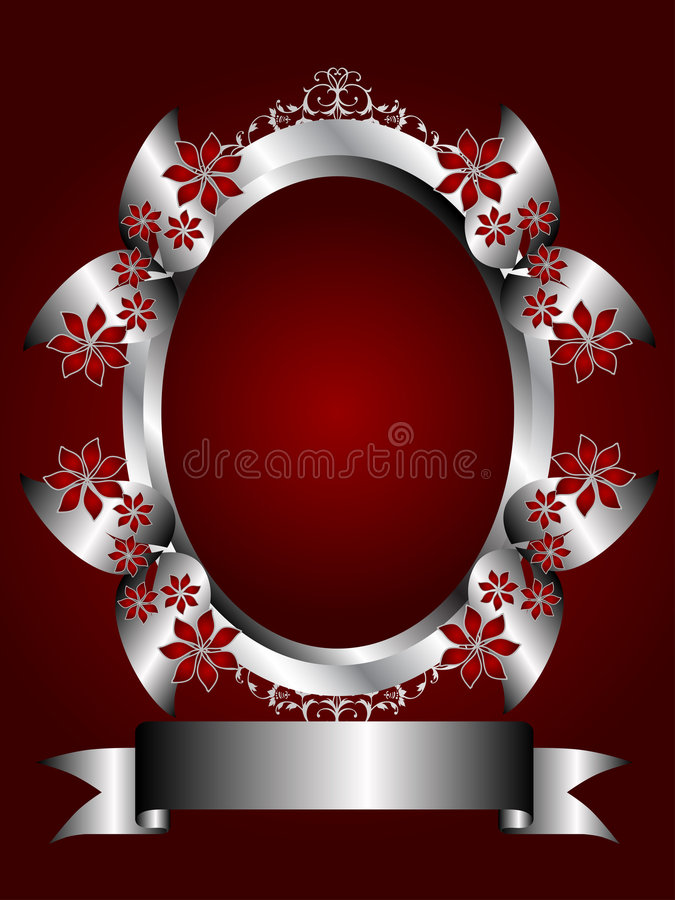 A Silver Floral Background on a Deep Red Backgroun stock illustration